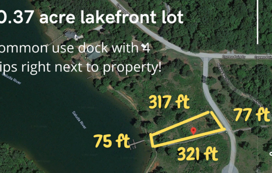 Lake Greenwood SC Lakefront Lot. Dock with 4 slips next to lot. Similar lots start at $95,000. Seller finance with $16,000 down OR buy for $67,500 Cash!