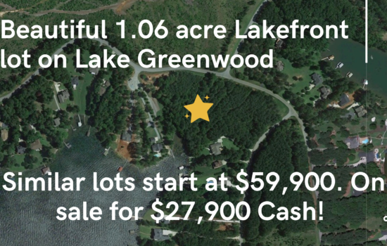 Lake Greenwood Lakefront 1.06 acre lot in Cross Hill, SC. Free boat & trailer storage included in $215 HOA annual fee! Similar lots start at $59,900. On sale for $27,900 CASH!